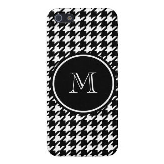 Black and White Houndstooth Your Monogram iPhone 5 Case