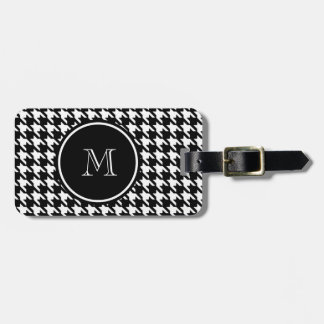 Black and White Houndstooth Your Monogram Luggage Tag