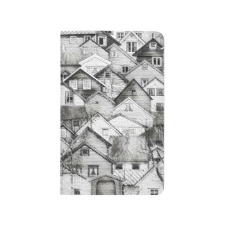 Black and White Houses Sketch Pocket Journal