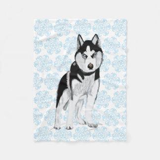 Black and white Husky Fleece Blanket