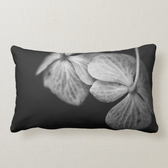 Black and White Hydrangea Pillow