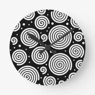 Black and white hypnoses round clock