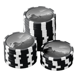 Black and White Iceland in Winter Poker Chips Set