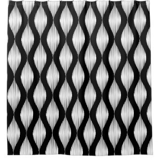 Black and white Ikat pattern shower curtain design
