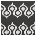Black and White Ikat Tribal Pattern Fabric
