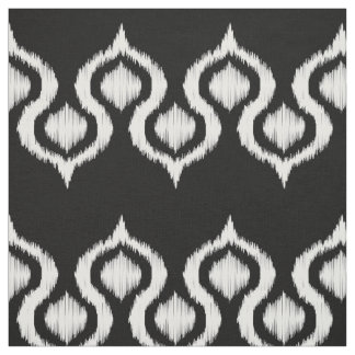Black and White Ikat Tribal Pattern Fabric