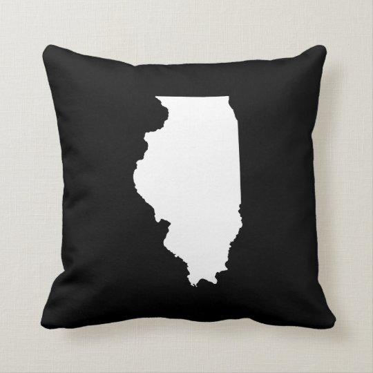 Black and White Illinois Throw Pillow