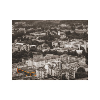 Black and white image OF on orange building Canvas Print