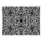 Black and White Ink Fractal Flowers Postcard