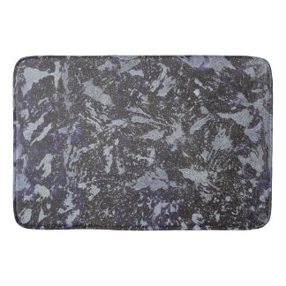 Black and White Ink on Purple Background Bathroom Mat