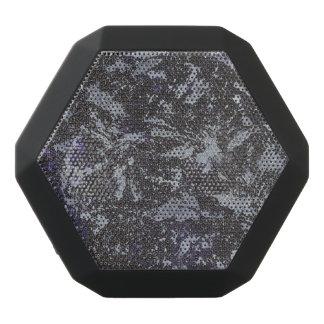Black and White Ink on Purple Background Black Bluetooth Speaker