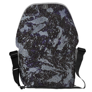 Black and White Ink on Purple Background Courier Bag