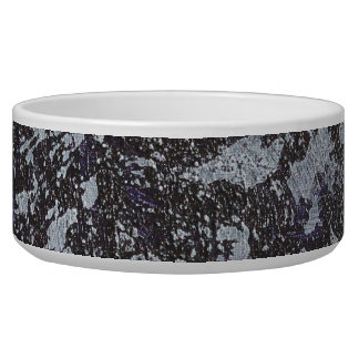 Black and White Ink on Purple Background Dog Food Bowls
