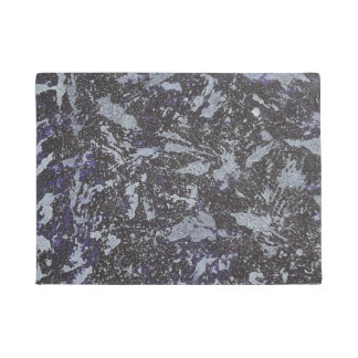 Black and White Ink on Purple Background Doormat