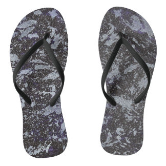 Black and White Ink on Purple Background Flip Flops