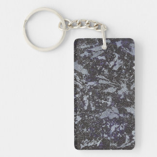 Black and White Ink on Purple Background Keychain