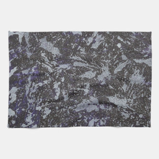 Black and White Ink on Purple Background Kitchen Towel