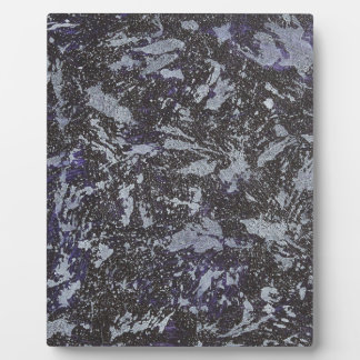 Black and White Ink on Purple Background Plaque