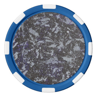 Black and White Ink on Purple Background Poker Chip Set