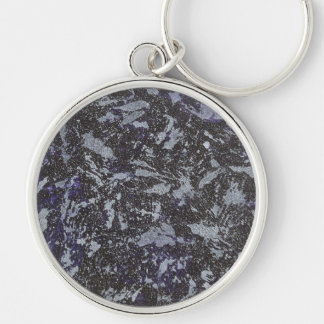 Black and White Ink on Purple Background Silver-Colored Round Keychain