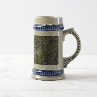 Black and White Ink on Yellow Background Beer Stein