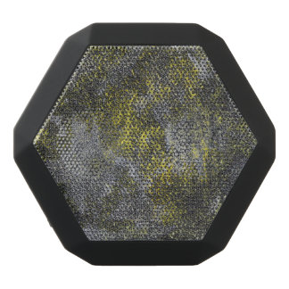 Black and White Ink on Yellow Background Black Bluetooth Speaker