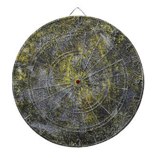 Black and White Ink on Yellow Background Dartboard