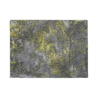 Black and White Ink on Yellow Background Doormat