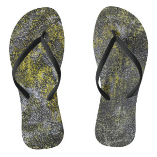 Black and White Ink on Yellow Background Flip Flops