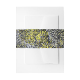 Black and White Ink on Yellow Background Invitation Belly Band