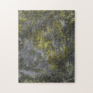 Black and White Ink on Yellow Background Jigsaw Puzzle