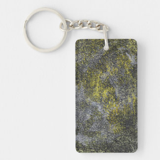Black and White Ink on Yellow Background Keychain