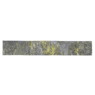 Black and White Ink on Yellow Background Long Table Runner