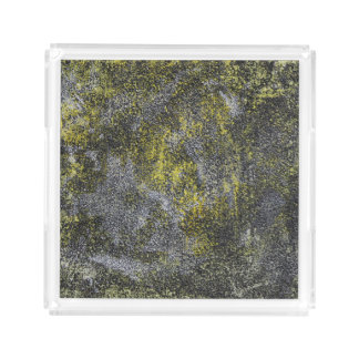 Black and White Ink on Yellow Background Perfume Tray