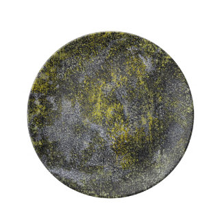 Black and White Ink on Yellow Background Plate