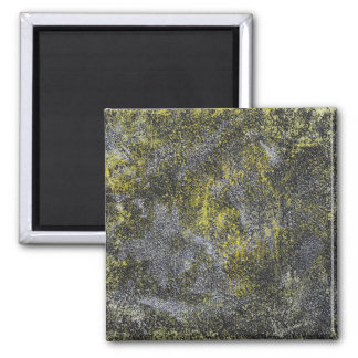 Black and White Ink on Yellow Background Square Magnet