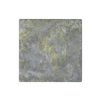 Black and White Ink on Yellow Background Stone Magnets