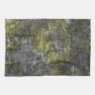 Black and White Ink on Yellow Background Towel