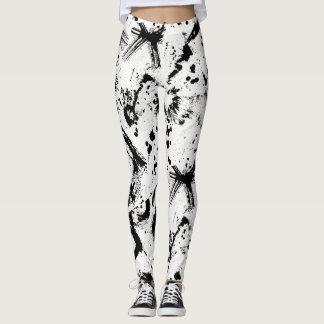 Black and White Ink Splatter Abstract Art Legging