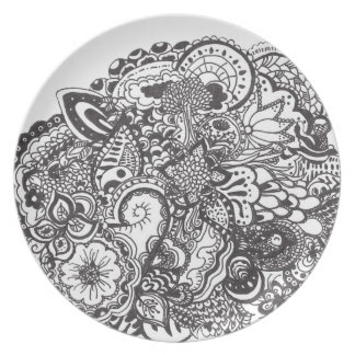 Black and white intricate ink drawing dinner plates
