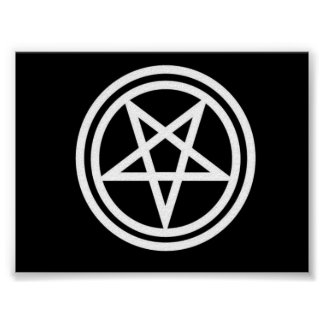 Black and white inverted pentagram poster, med. poster