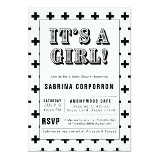 Black and White It's A Girl Baby Shower Invitation