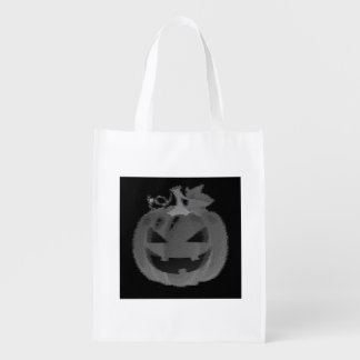 Black and White Jack-o-Lantern Trick or Treat Market Totes