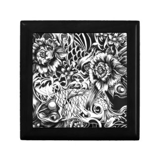 Black and white Japanese Koi tattoo art. Gift Box
