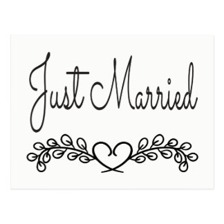 Black And White Just Married Heart Laurel Wedding Postcard