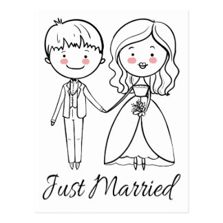 Black And White Just Married Wedding Bride & Groom Postcard