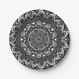 Black and White kaleidoscope 7 Inch Paper Plate