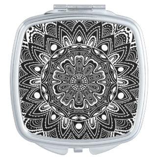 Black and White kaleidoscope Compact Mirror