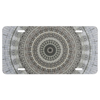 Black and white kaleidoscope license plate