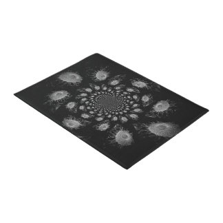 Black And White Kaleidoscope Sunflowers Doormat